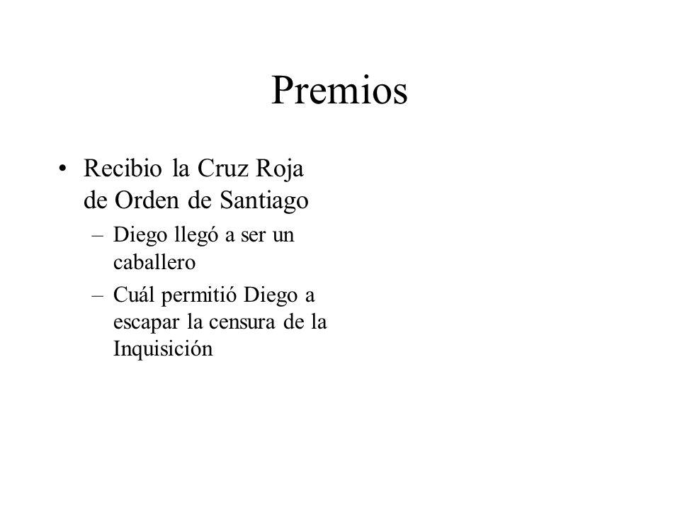 Premios Recibio la Cruz Roja de Orden de Santiago