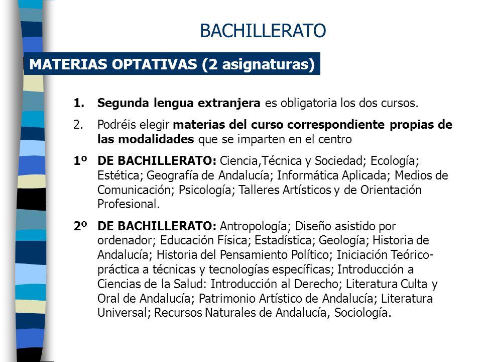 BACHILLERATO MATERIAS OPTATIVAS (2 asignaturas)