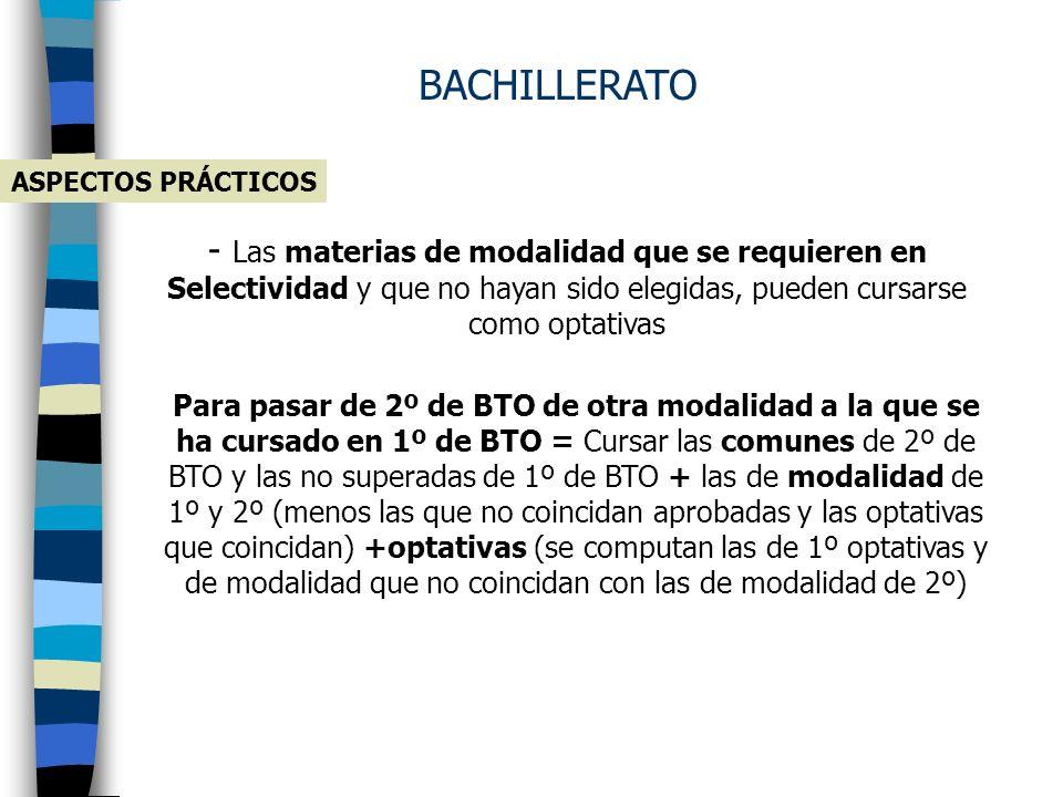 BACHILLERATO ASPECTOS PRÁCTICOS.