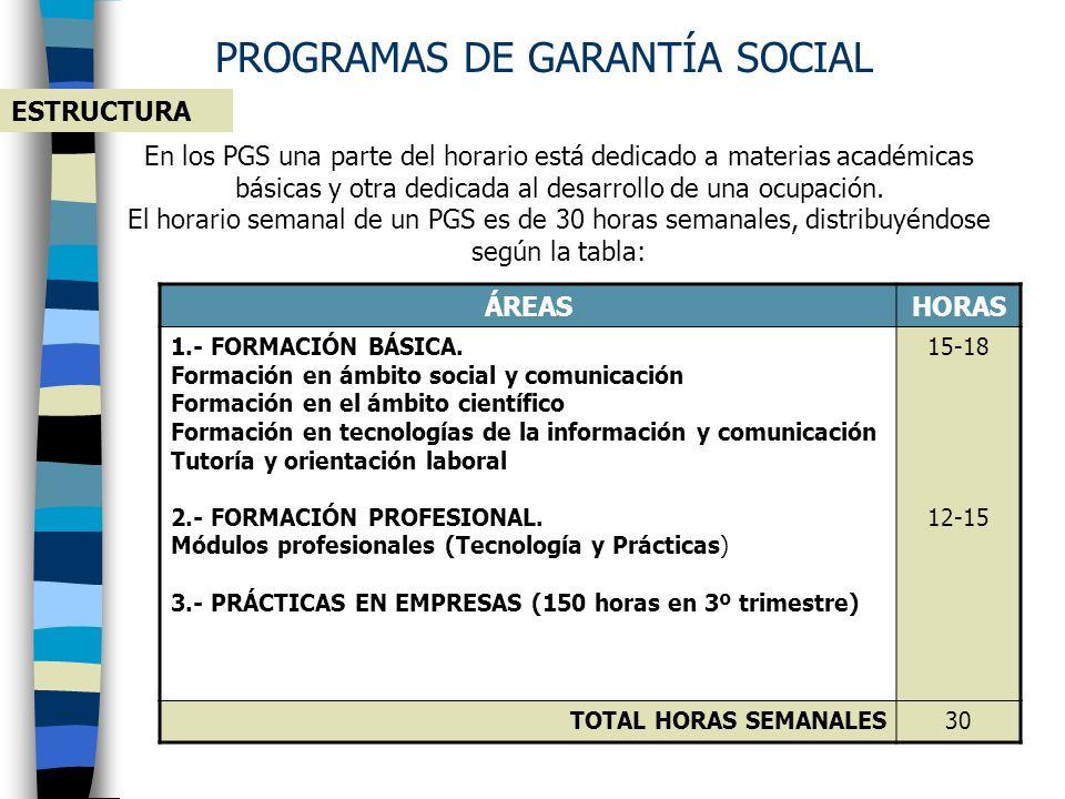 PROGRAMAS DE GARANTÍA SOCIAL