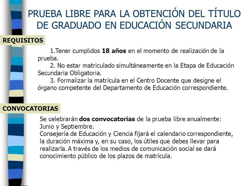 PRUEBA LIBRE PARA LA OBTENCIÓN DEL TÍTULO DE GRADUADO EN EDUCACIÓN SECUNDARIA