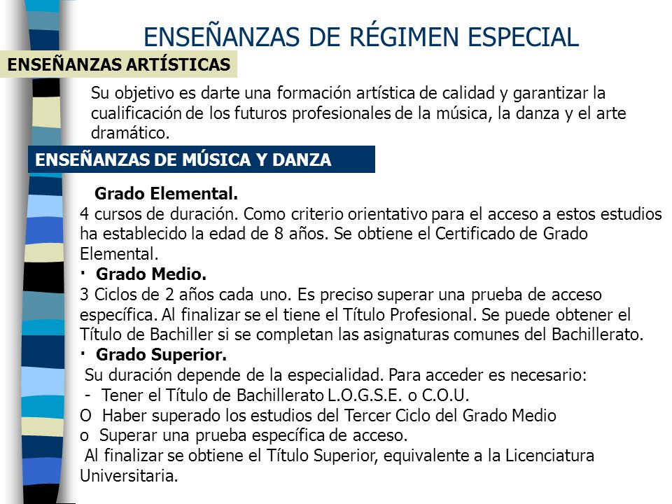 ENSEÑANZAS DE RÉGIMEN ESPECIAL