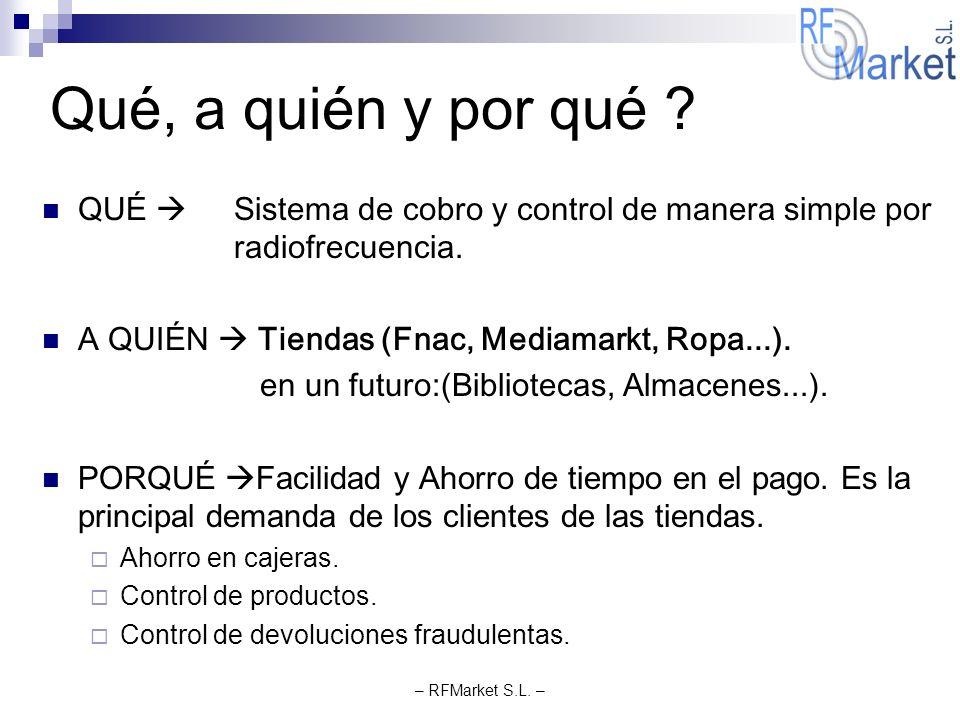 Qué, a quién y por qué QUÉ  Sistema de cobro y control de manera simple por radiofrecuencia. A QUIÉN  Tiendas (Fnac, Mediamarkt, Ropa...).