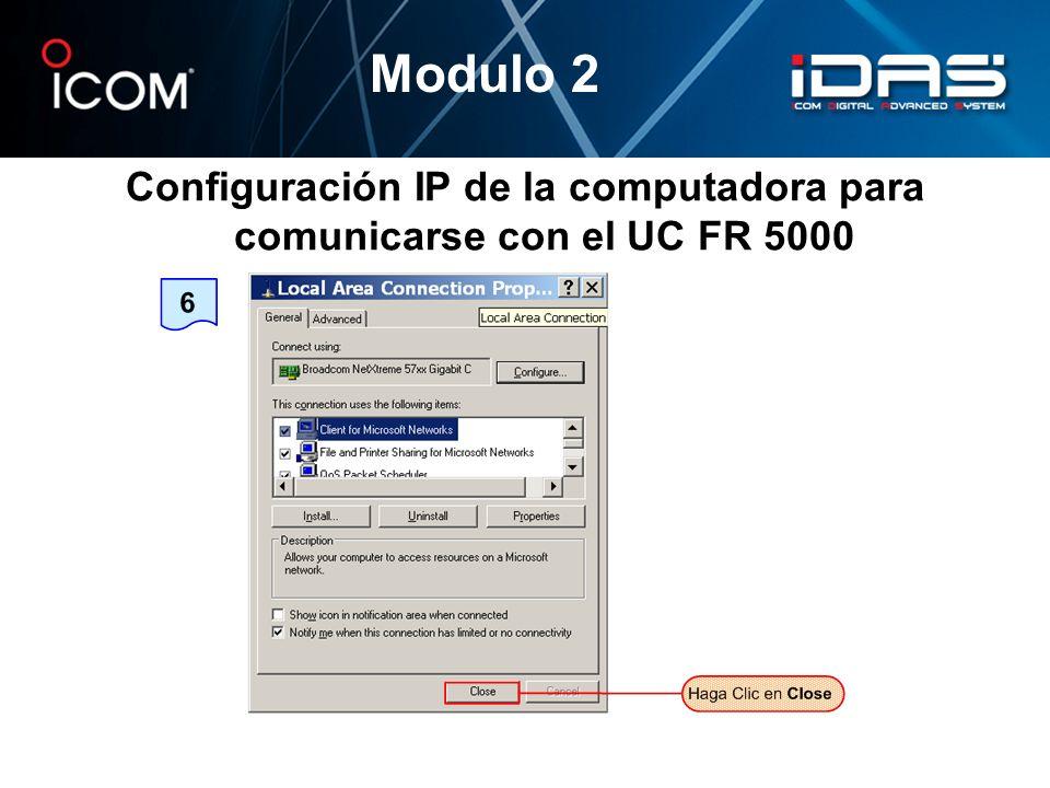 Configuración IP de la computadora para comunicarse con el UC FR 5000