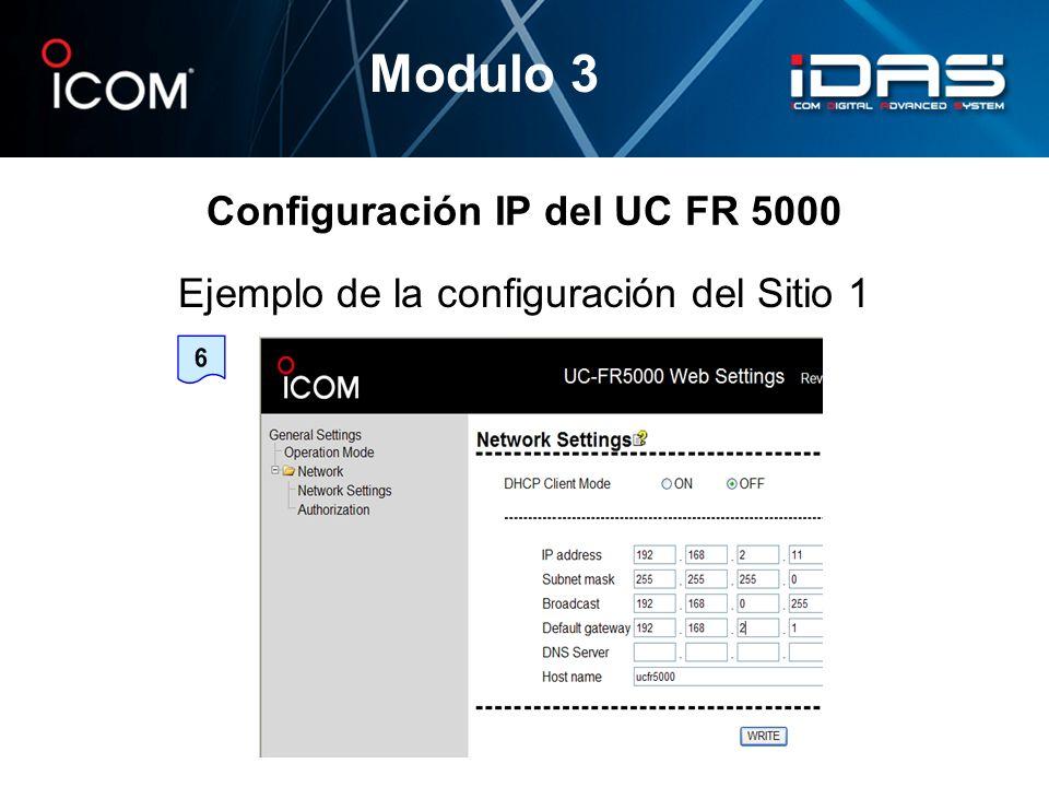 Configuración IP del UC FR 5000