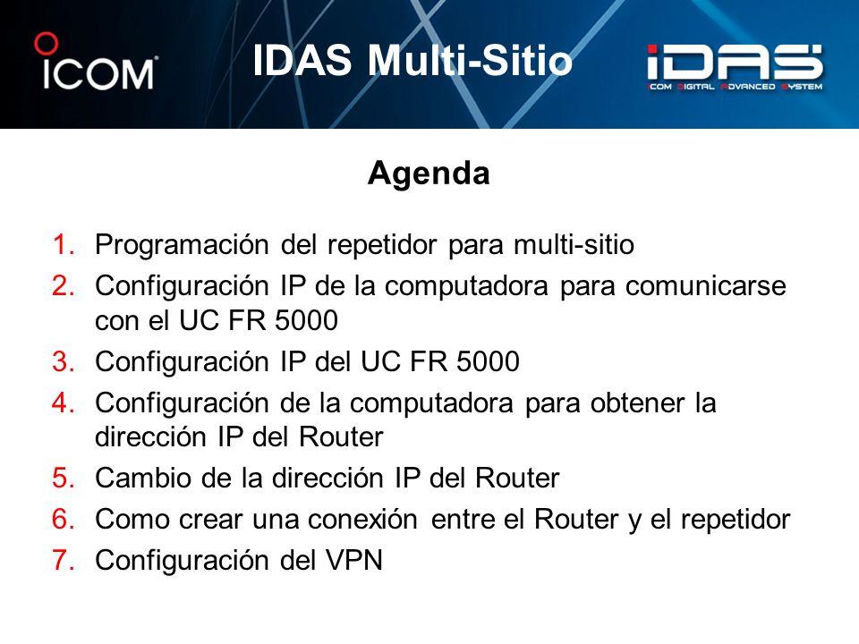 IDAS Multi-Sitio Agenda Programación del repetidor para multi-sitio