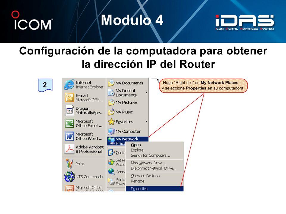Modulo 4 Configuración de la computadora para obtener la dirección IP del Router