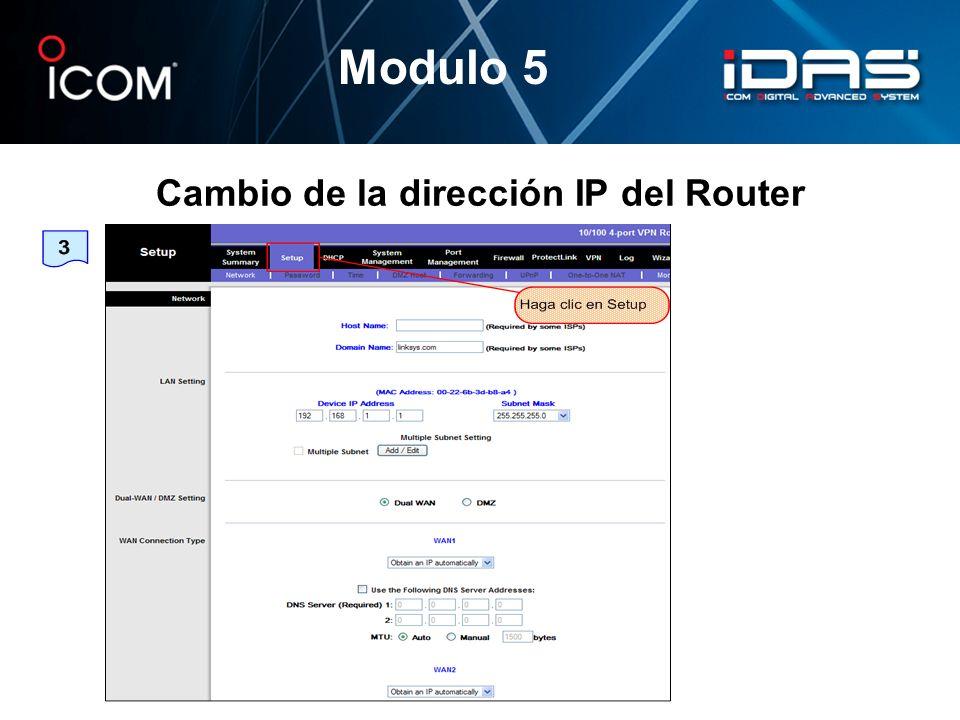 Cambio de la dirección IP del Router
