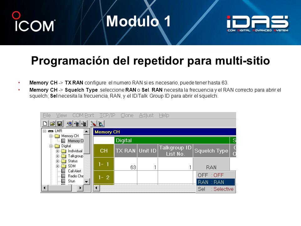 Programación del repetidor para multi-sitio