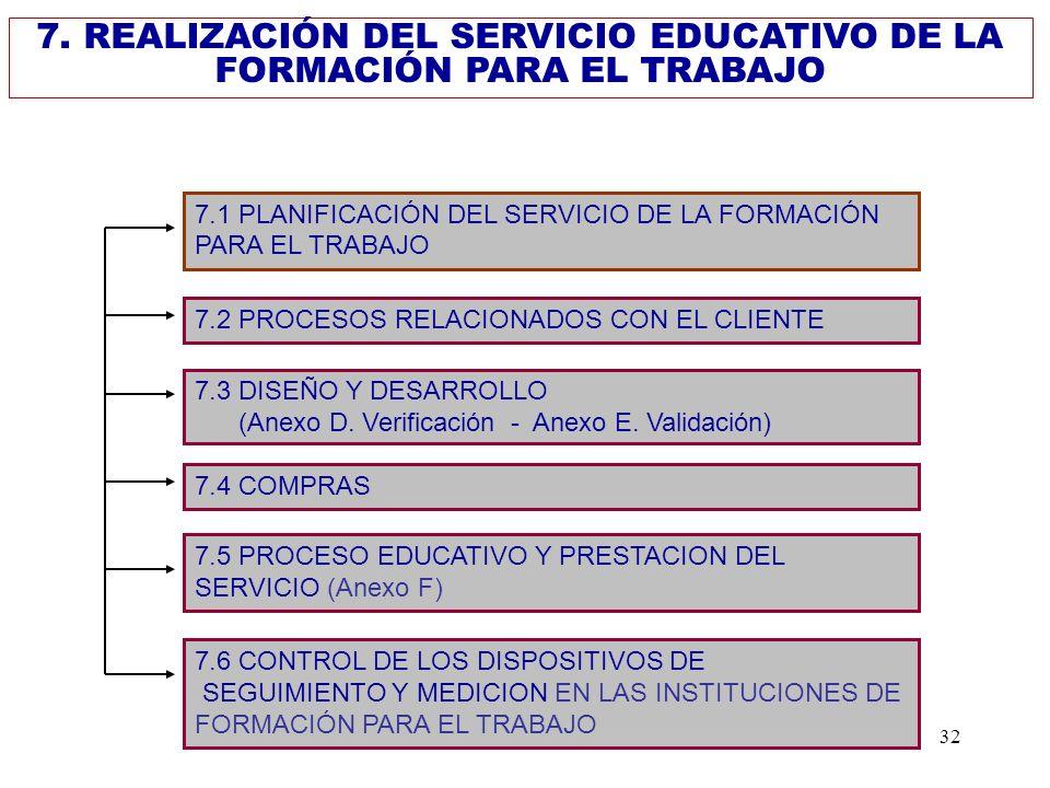 7. REALIZACIÓN DEL SERVICIO EDUCATIVO DE LA FORMACIÓN PARA EL TRABAJO