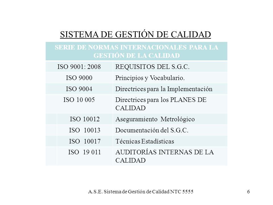 SERIE DE NORMAS INTERNACIONALES PARA LA GESTIÓN DE LA CALIDAD