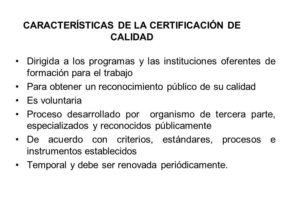 Características de la certificación de calidad