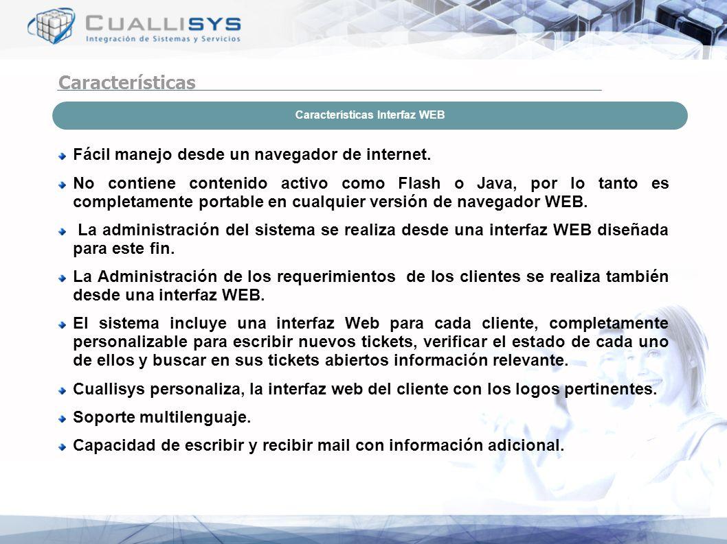 Características Interfaz WEB