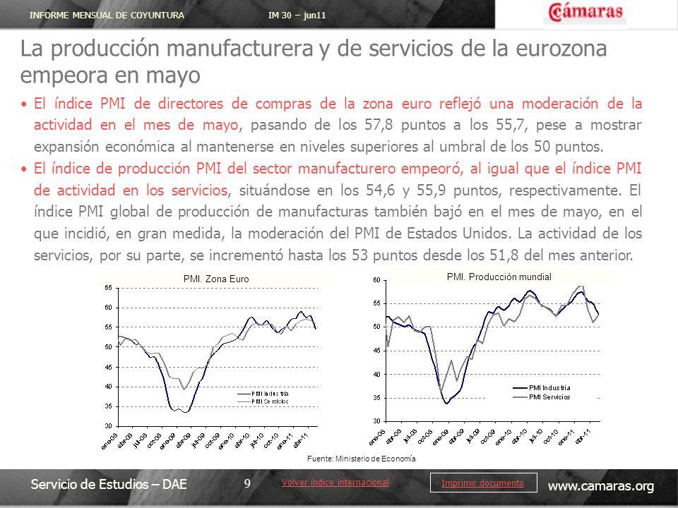 La producción manufacturera y de servicios de la eurozona empeora en mayo