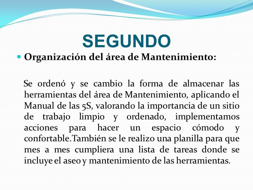 SEGUNDO Organización del área de Mantenimiento: