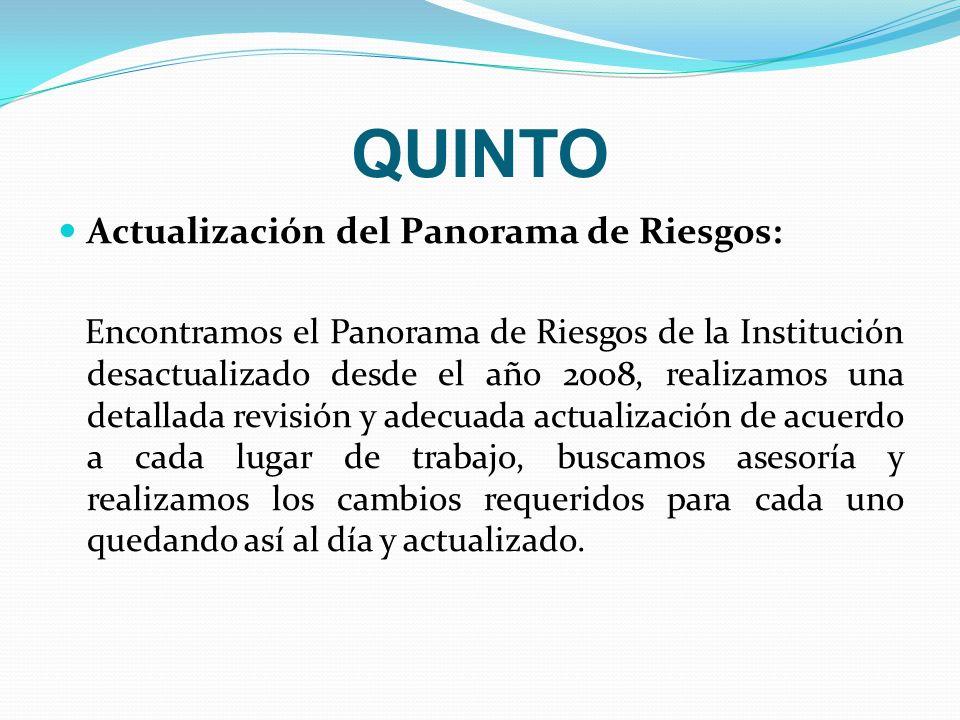QUINTO Actualización del Panorama de Riesgos: