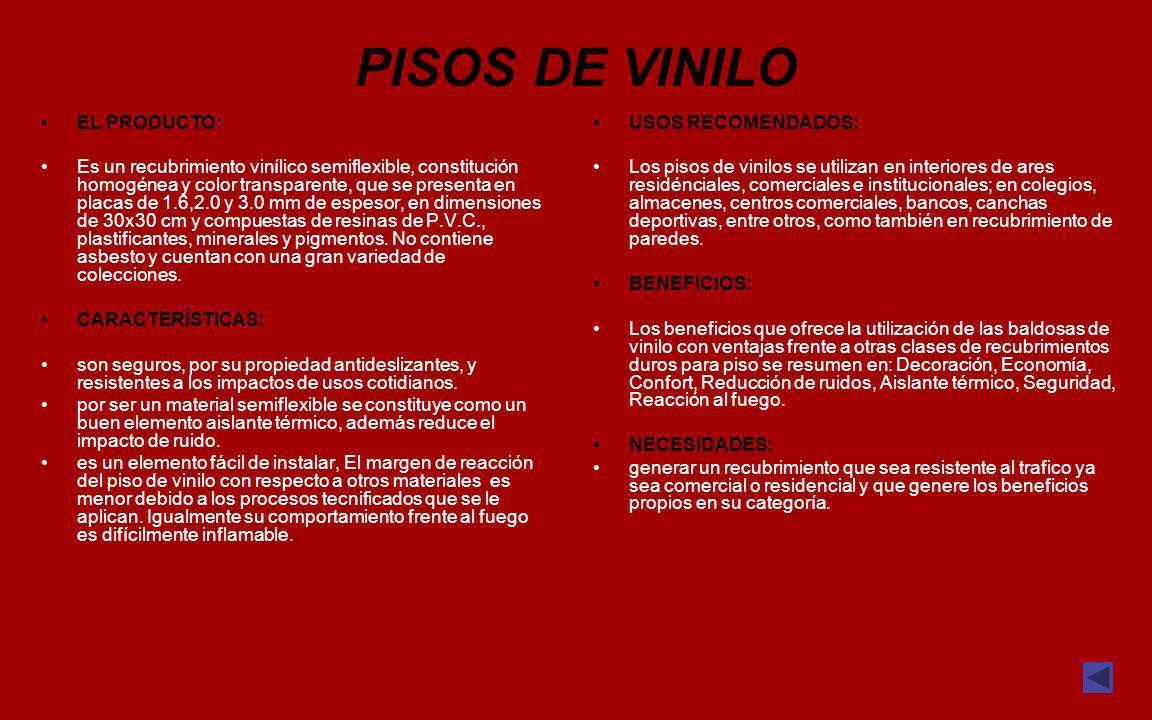 PISOS DE VINILO EL PRODUCTO: