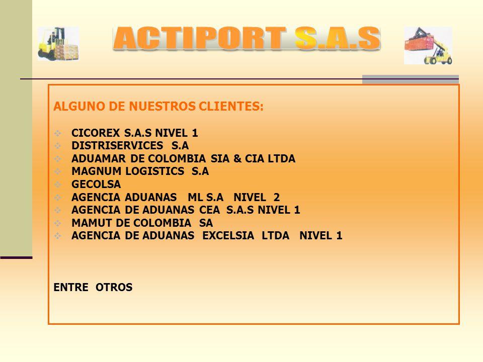ACTIPORT S.A.S ALGUNO DE NUESTROS CLIENTES: CICOREX S.A.S NIVEL 1