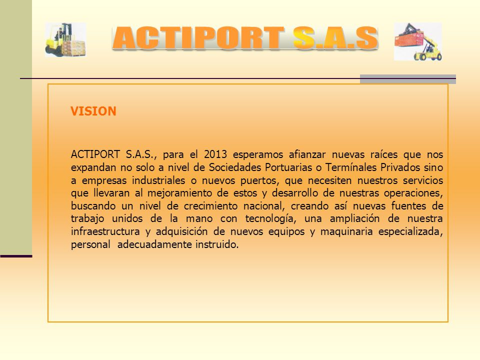 ACTIPORT S.A.S VISION.