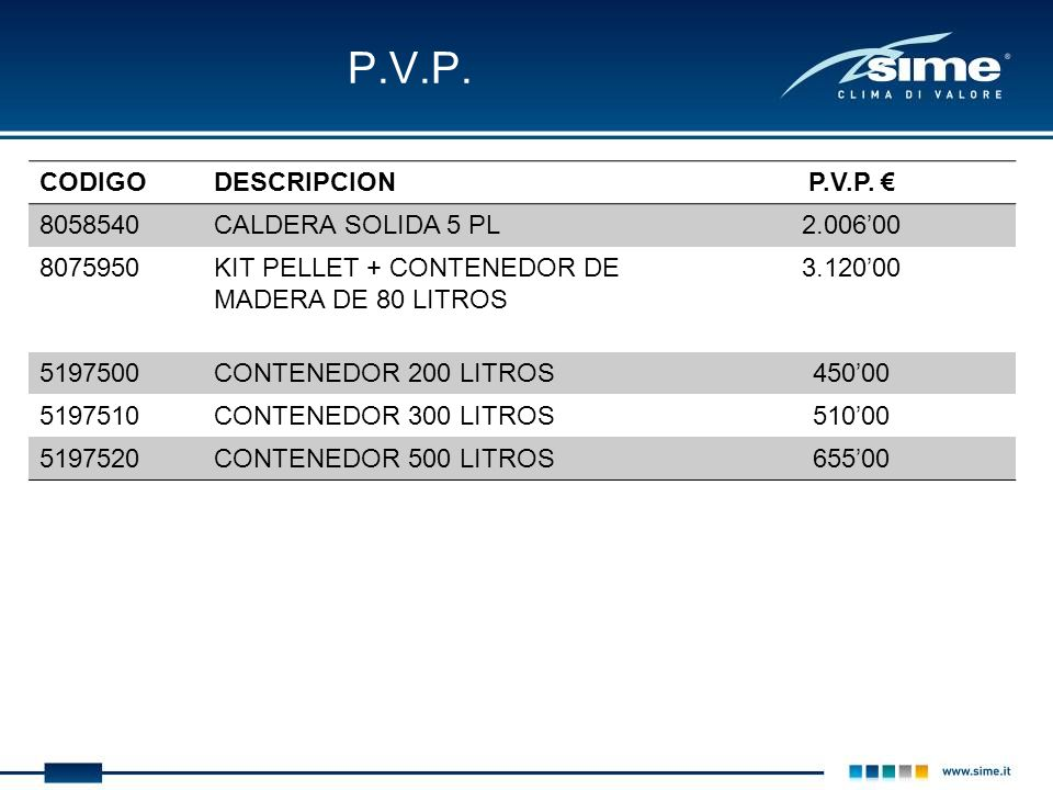 P.V.P. CODIGO DESCRIPCION P.V.P. € 8058540 CALDERA SOLIDA 5 PL