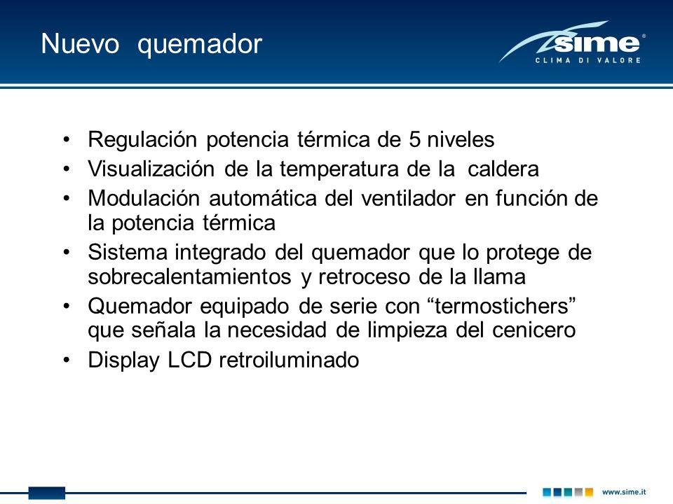 Nuevo quemador Regulación potencia térmica de 5 niveles