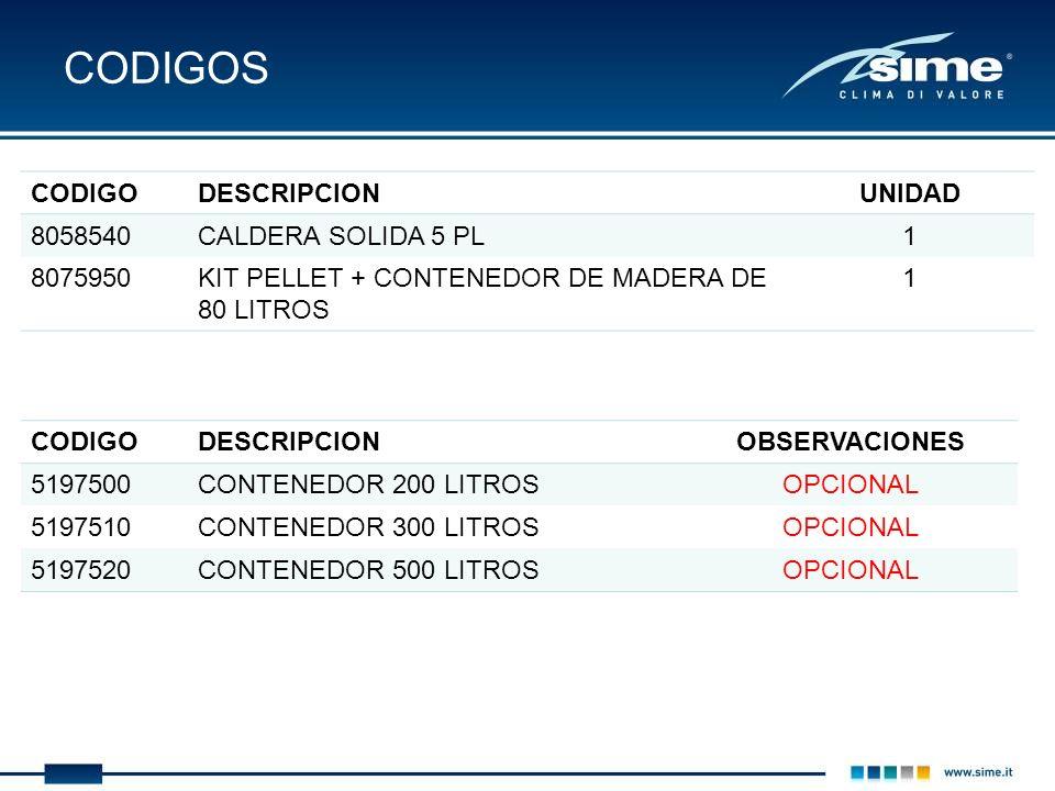 CODIGOS CODIGO DESCRIPCION UNIDAD 8058540 CALDERA SOLIDA 5 PL 1