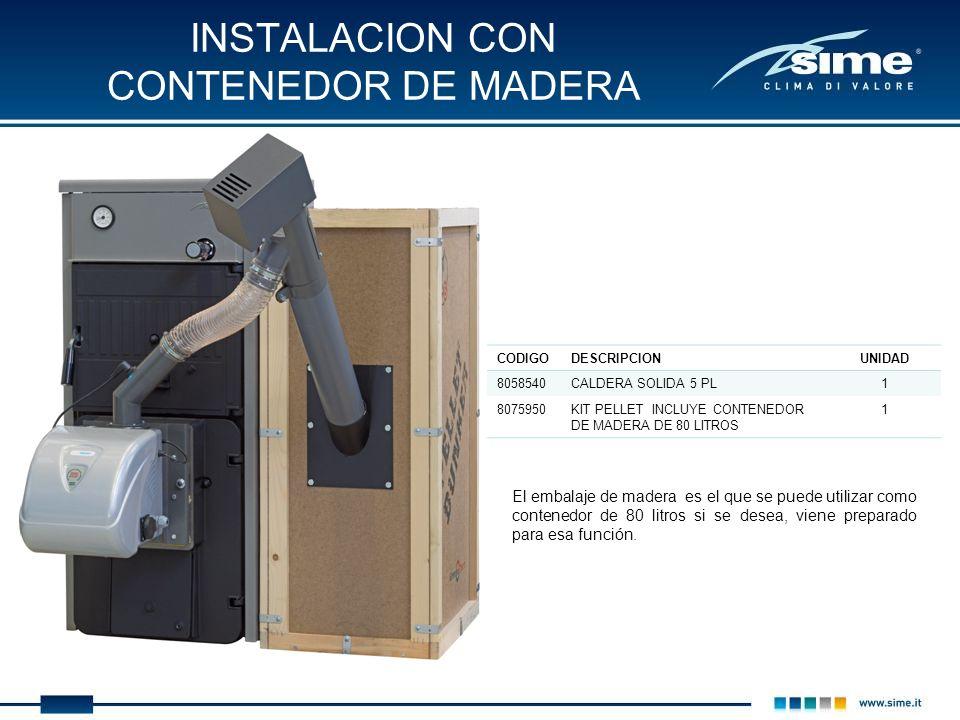 INSTALACION CON CONTENEDOR DE MADERA