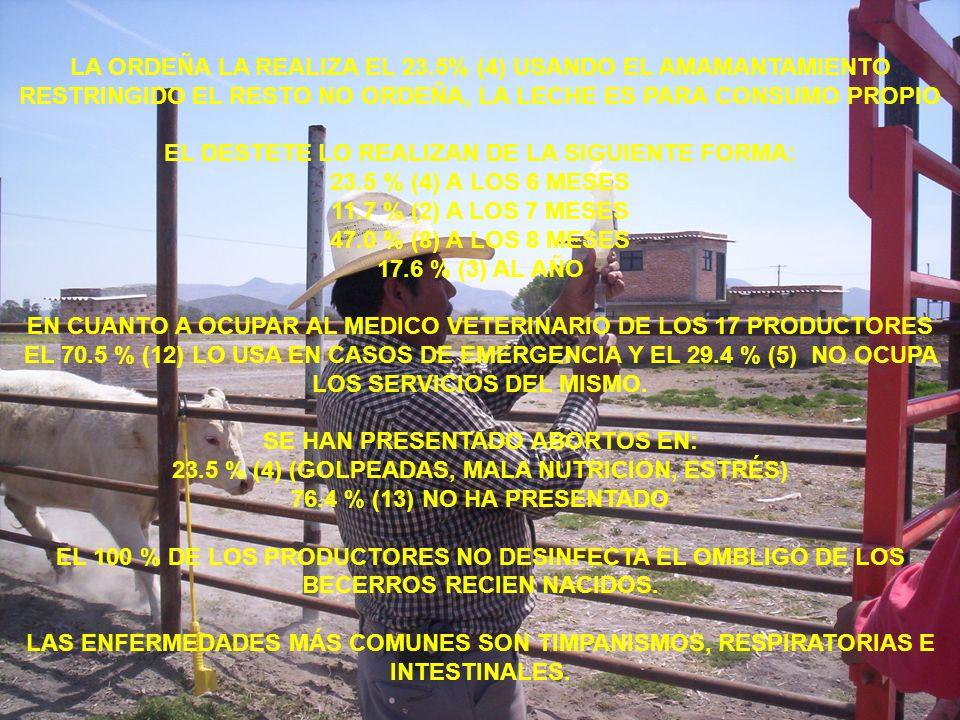 EL DESTETE LO REALIZAN DE LA SIGUIENTE FORMA: 23.5 % (4) A LOS 6 MESES