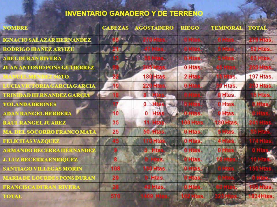 INVENTARIO GANADERO Y DE TERRENO