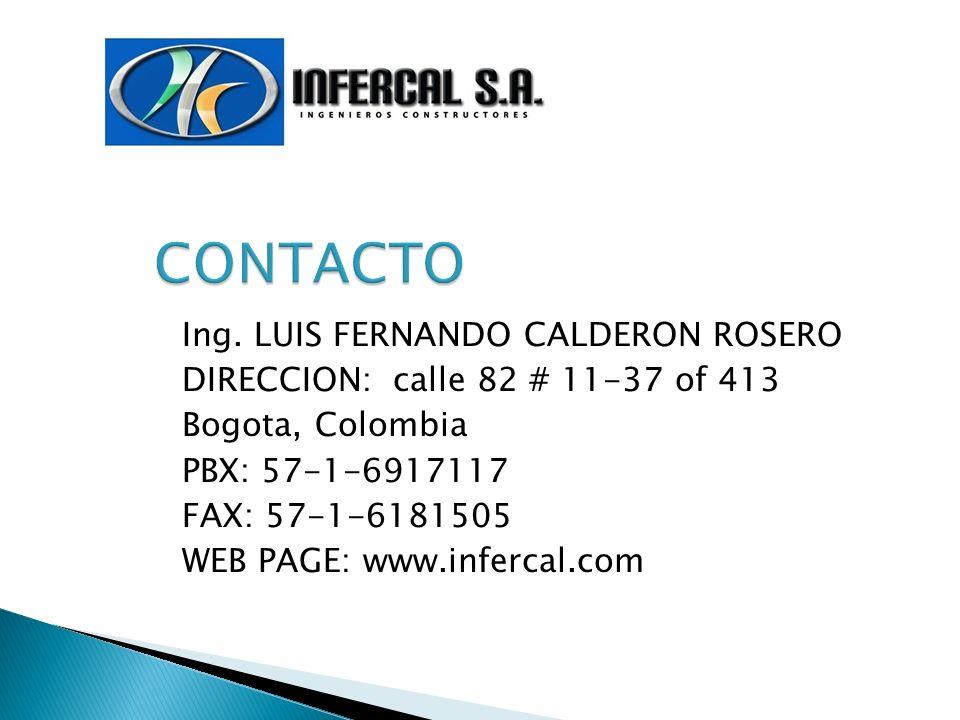 CONTACTO Ing. LUIS FERNANDO CALDERON ROSERO