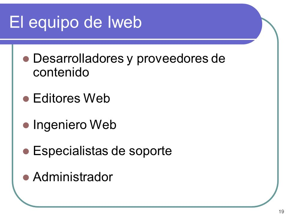 El equipo de Iweb Desarrolladores y proveedores de contenido