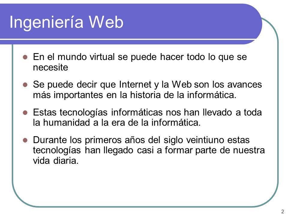 Ingeniería Web En el mundo virtual se puede hacer todo lo que se necesite.