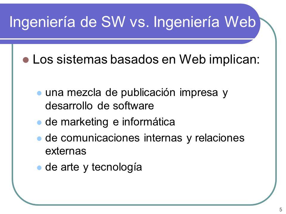 Ingeniería de SW vs. Ingeniería Web