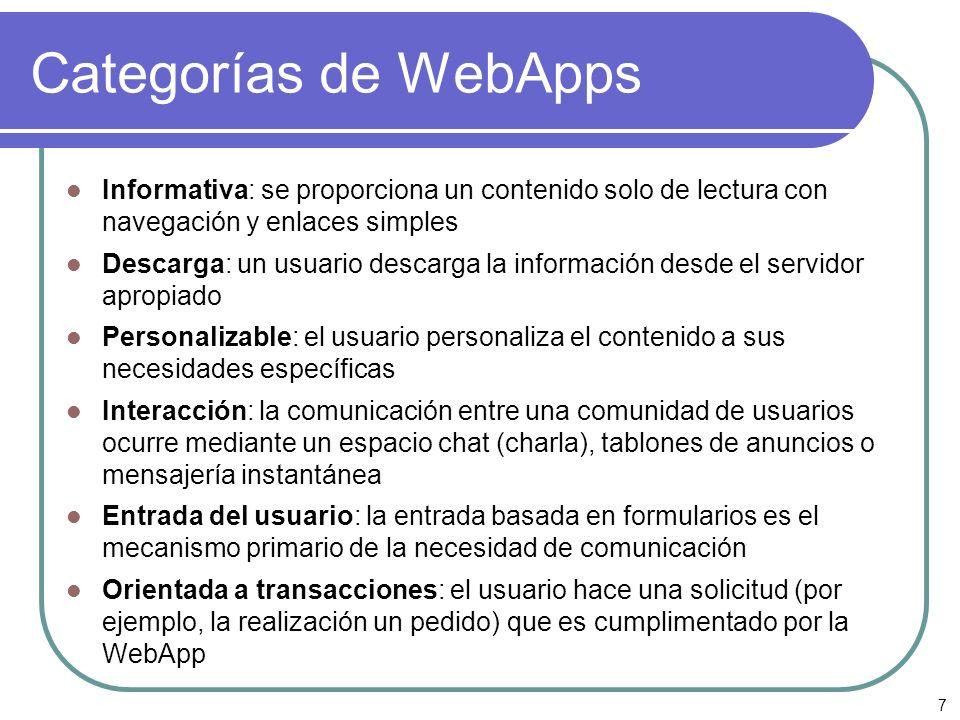 Categorías de WebAppsInformativa: se proporciona un contenido solo de lectura con navegación y enlaces simples.