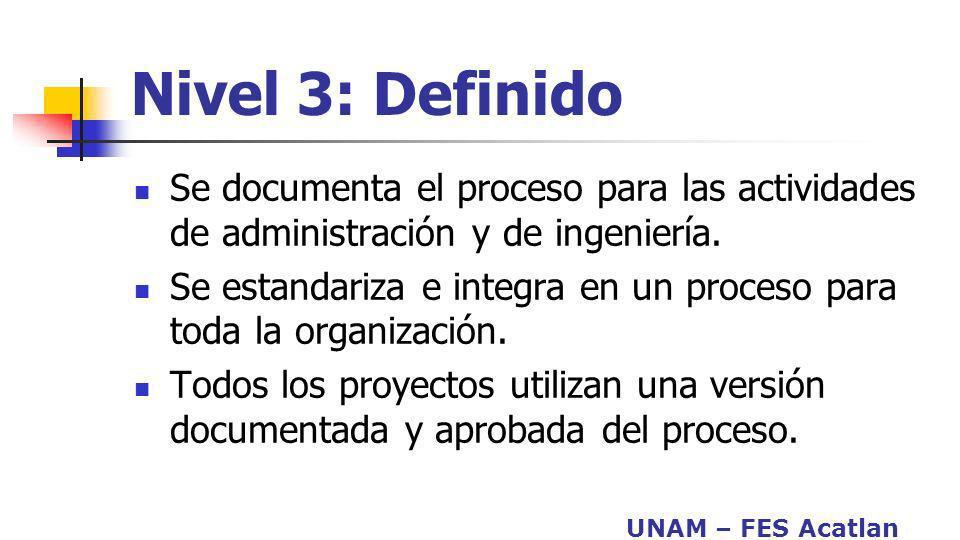 Nivel 3: Definido Se documenta el proceso para las actividades de administración y de ingeniería.