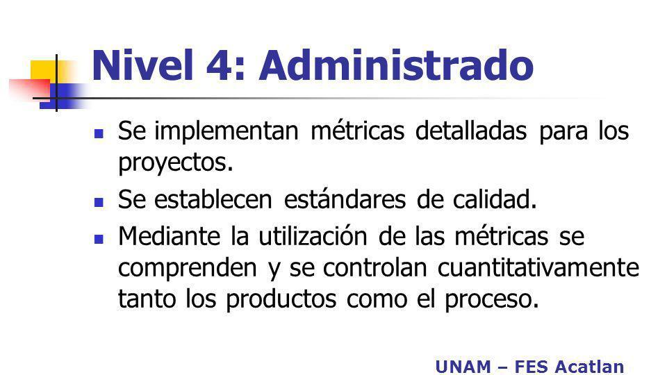 Nivel 4: Administrado Se implementan métricas detalladas para los proyectos. Se establecen estándares de calidad.