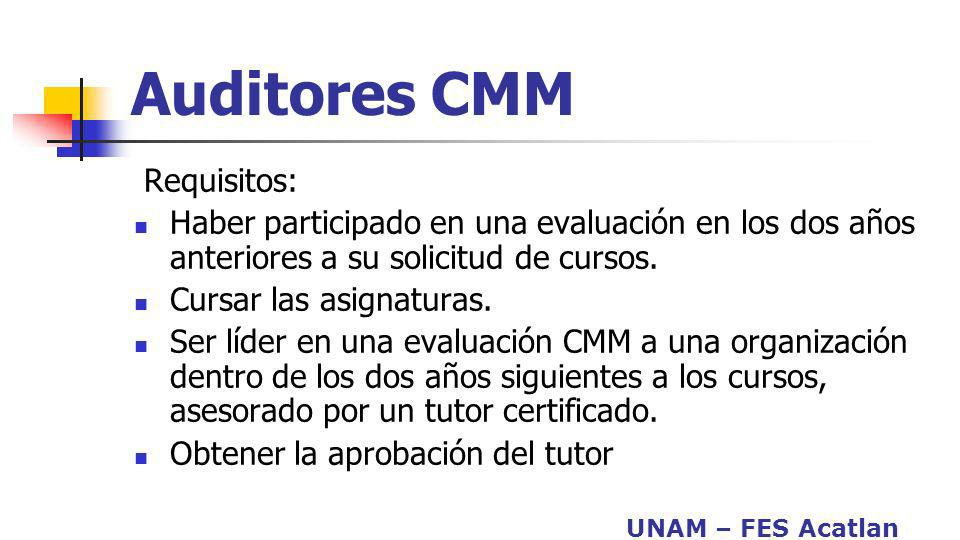 Auditores CMM Requisitos: