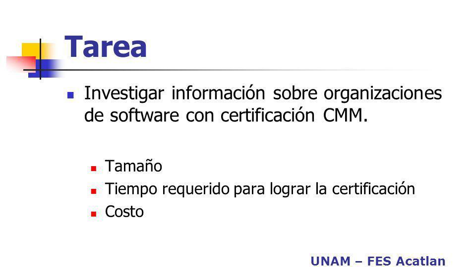 Tarea Investigar información sobre organizaciones de software con certificación CMM. Tamaño. Tiempo requerido para lograr la certificación.