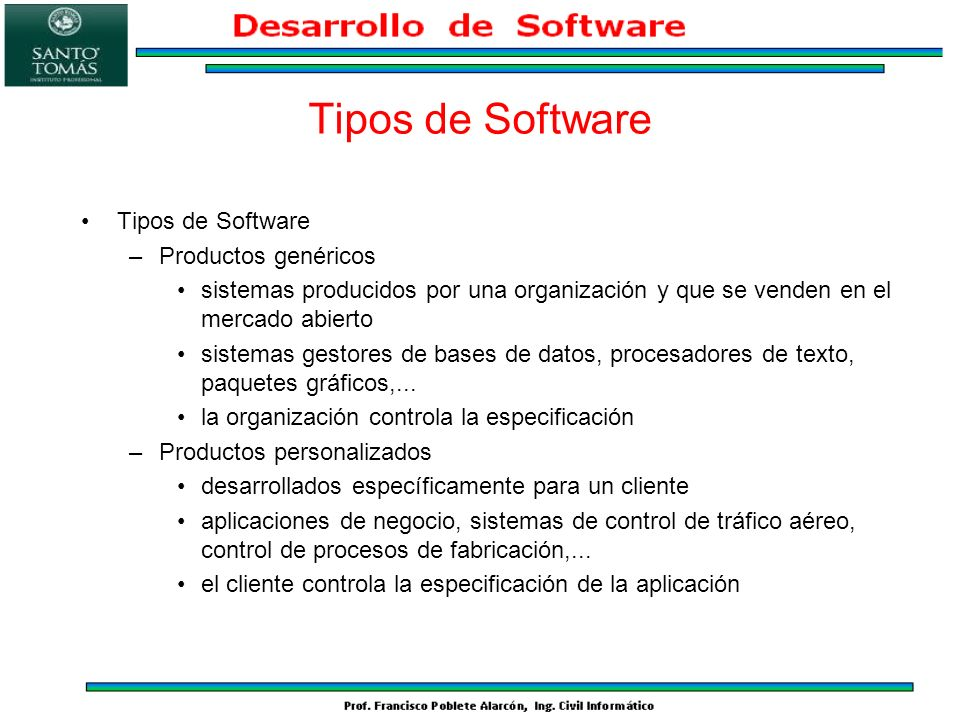 Tipos de Software Tipos de Software Productos genéricos