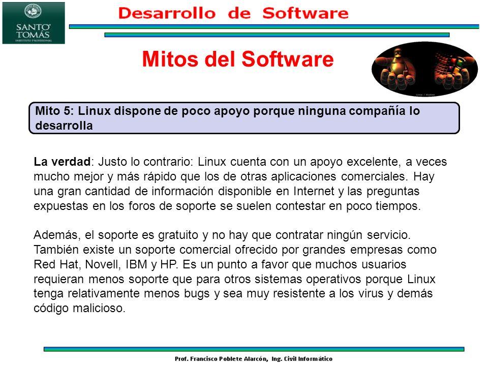 Mitos del Software Mito 5: Linux dispone de poco apoyo porque ninguna compañía lo desarrolla.
