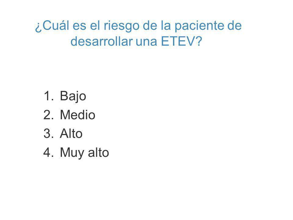 ¿Cuál es el riesgo de la paciente de desarrollar una ETEV