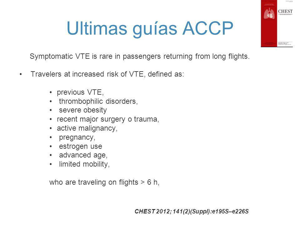 Ultimas guías ACCP Symptomatic VTE is rare in passengers returning from long flights. Travelers at increased risk of VTE, defined as: