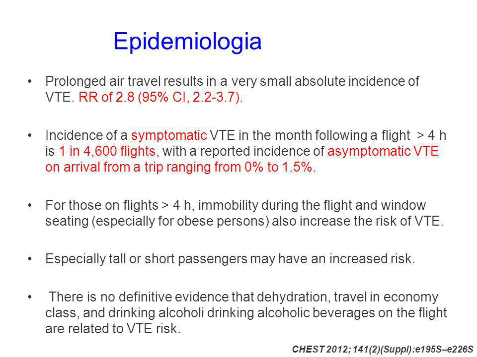 Epidemiologia Prolonged air travel results in a very small absolute incidence of VTE. RR of 2.8 (95% CI, 2.2-3.7).