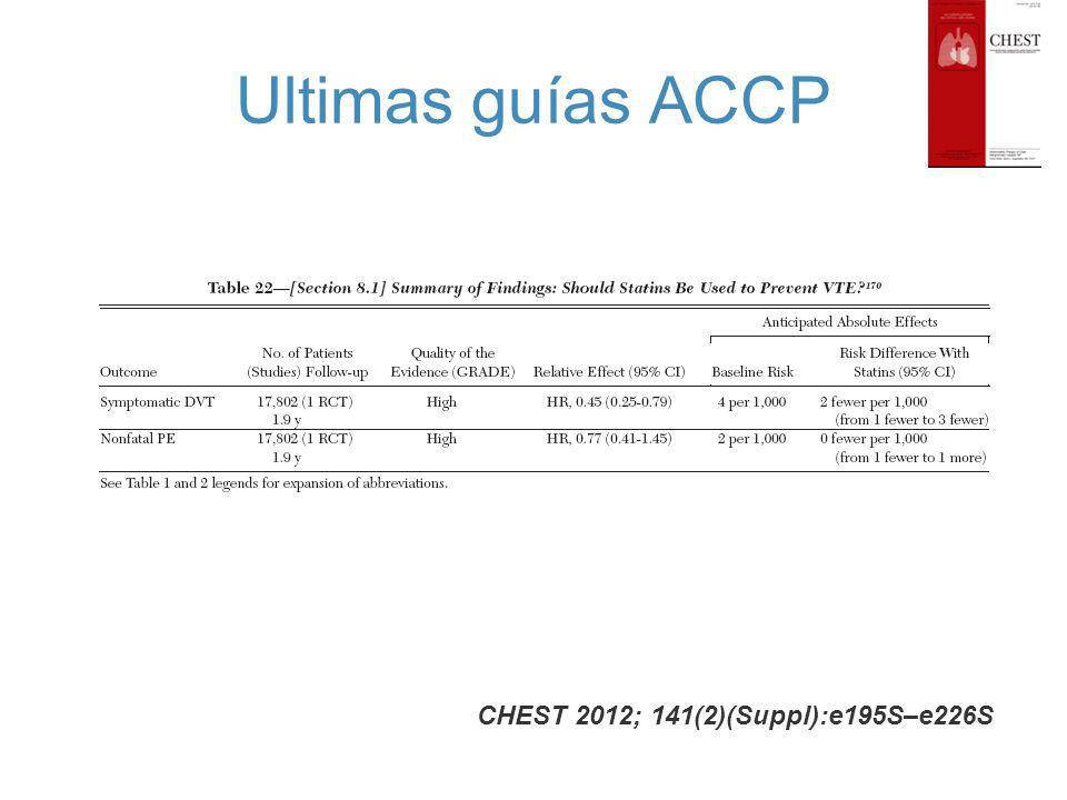 Ultimas guías ACCP CHEST 2012; 141(2)(Suppl):e195S–e226S