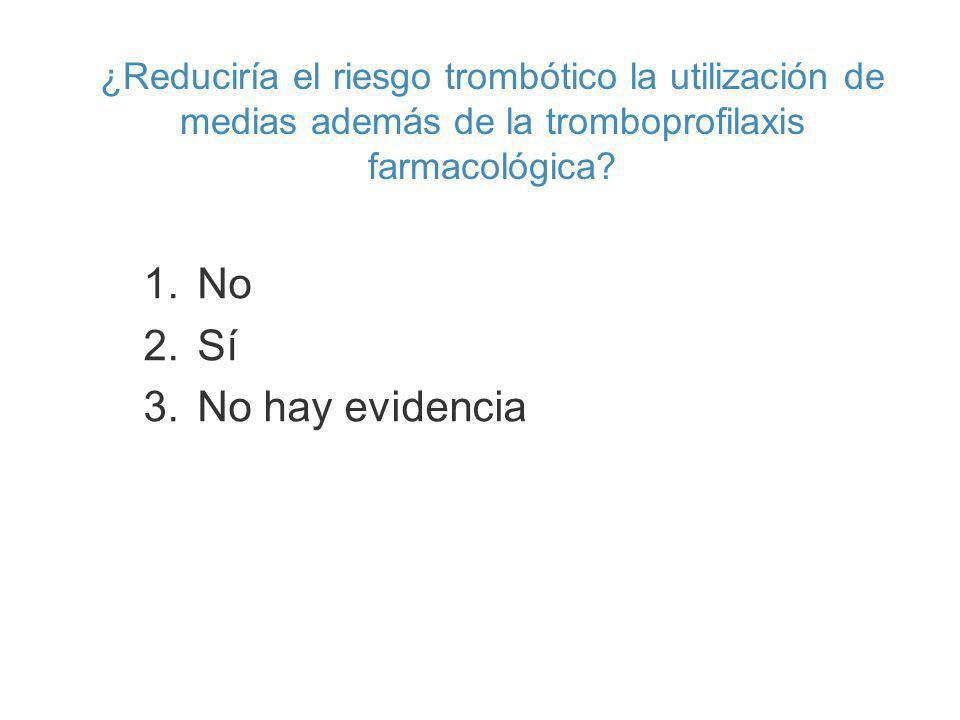 ¿Reduciría el riesgo trombótico la utilización de medias además de la tromboprofilaxis farmacológica