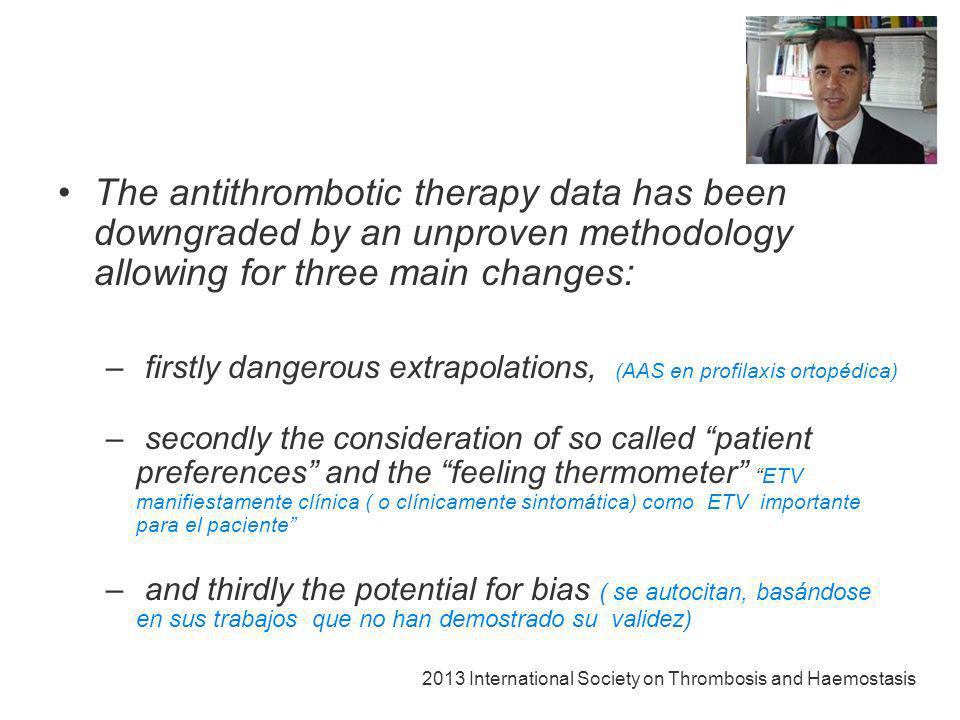 The antithrombotic therapy data has been downgraded by an unproven methodology allowing for three main changes:
