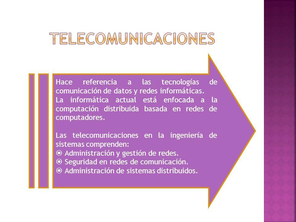 telecomunicaciones Hace referencia a las tecnologías de comunicación de datos y redes informáticas.