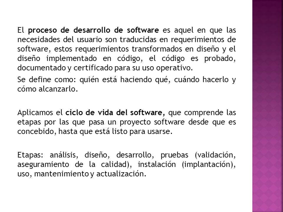 El proceso de desarrollo de software es aquel en que las necesidades del usuario son traducidas en requerimientos de software, estos requerimientos transformados en diseño y el diseño implementado en código, el código es probado, documentado y certificado para su uso operativo.