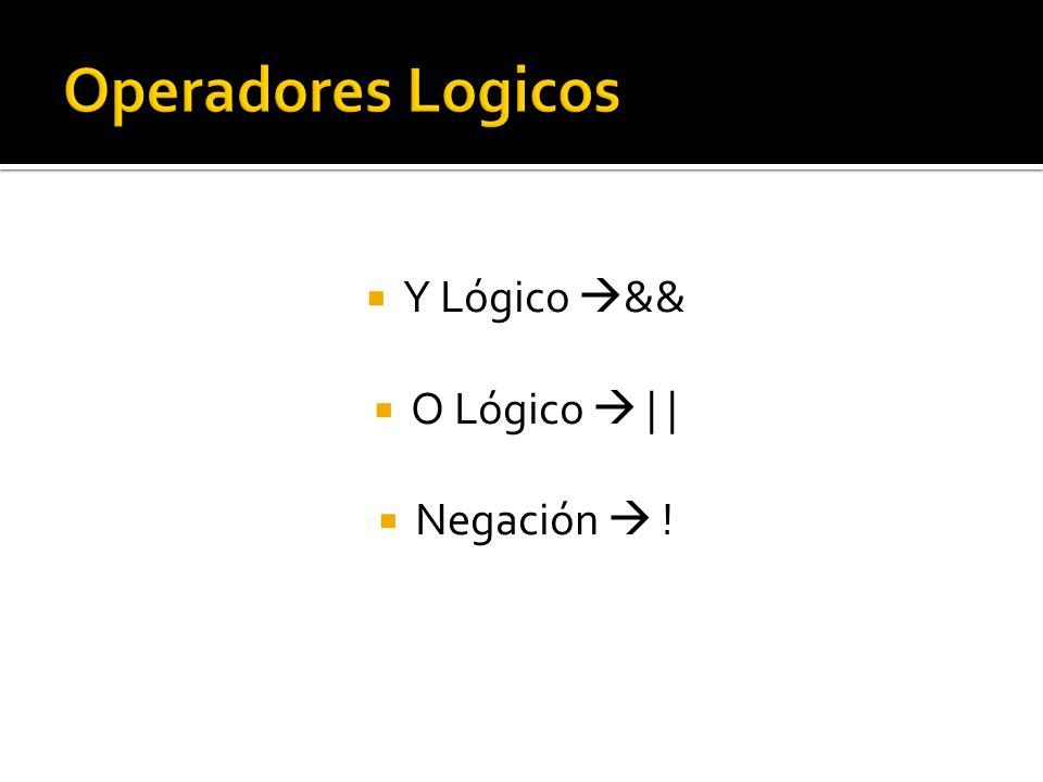 Operadores Logicos Y Lógico && O Lógico  | | Negación  !