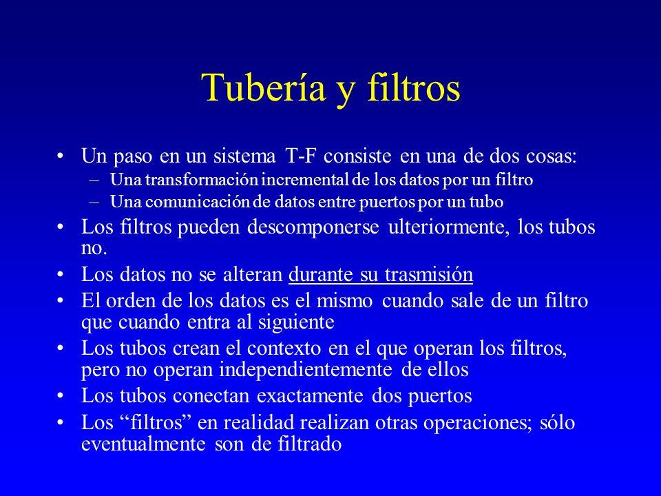 Tubería y filtros Un paso en un sistema T-F consiste en una de dos cosas: Una transformación incremental de los datos por un filtro.